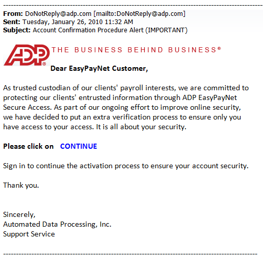 Sample of ADP Phishing Email