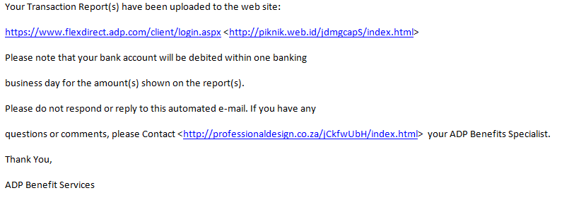 Another ADP Email Phishing Message