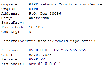 Output of Arin.net Whois - RIPE