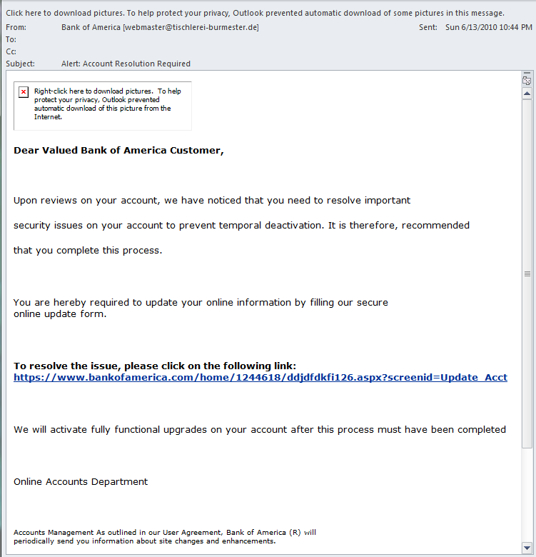 Full Phishing Email Screenshot