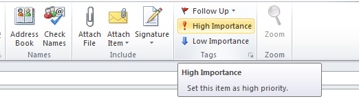 Importance Feature Outlook 2010