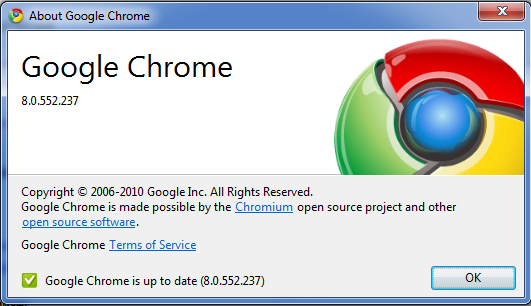 About Results Google Chrome