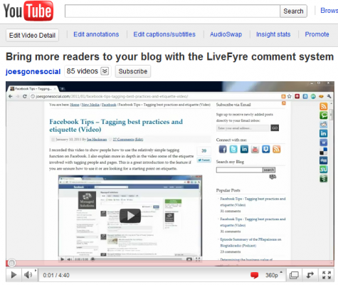 Screenshot of the LiveFyre Comment System Video