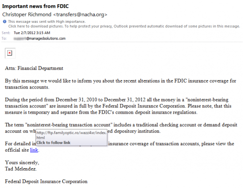 FDIC Phishing Email Screenshot