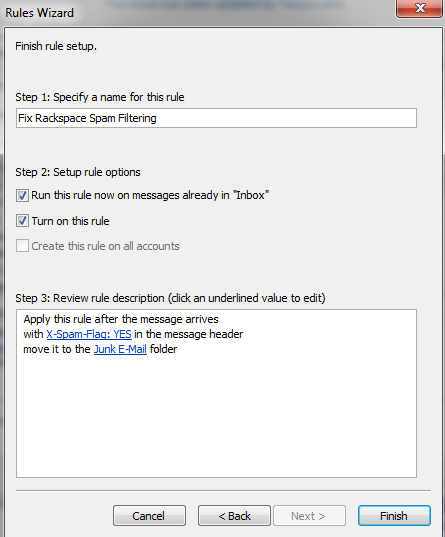 Rackspace Ant-Spam Rule Outlook 2010 Final Screen