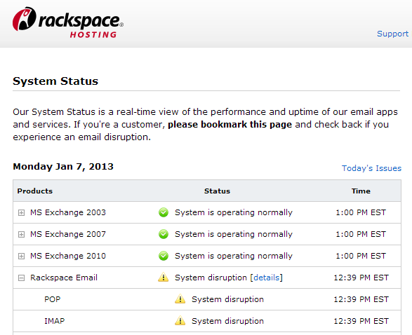 Excerpt of Status Page at Rackspace