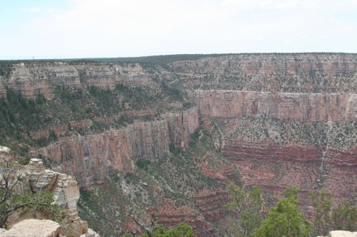 View of the Bright Angel Trail from the Rim Trail.