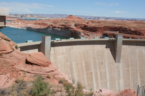 View of the Glen Canyon Dam from Outside the Visitor Center